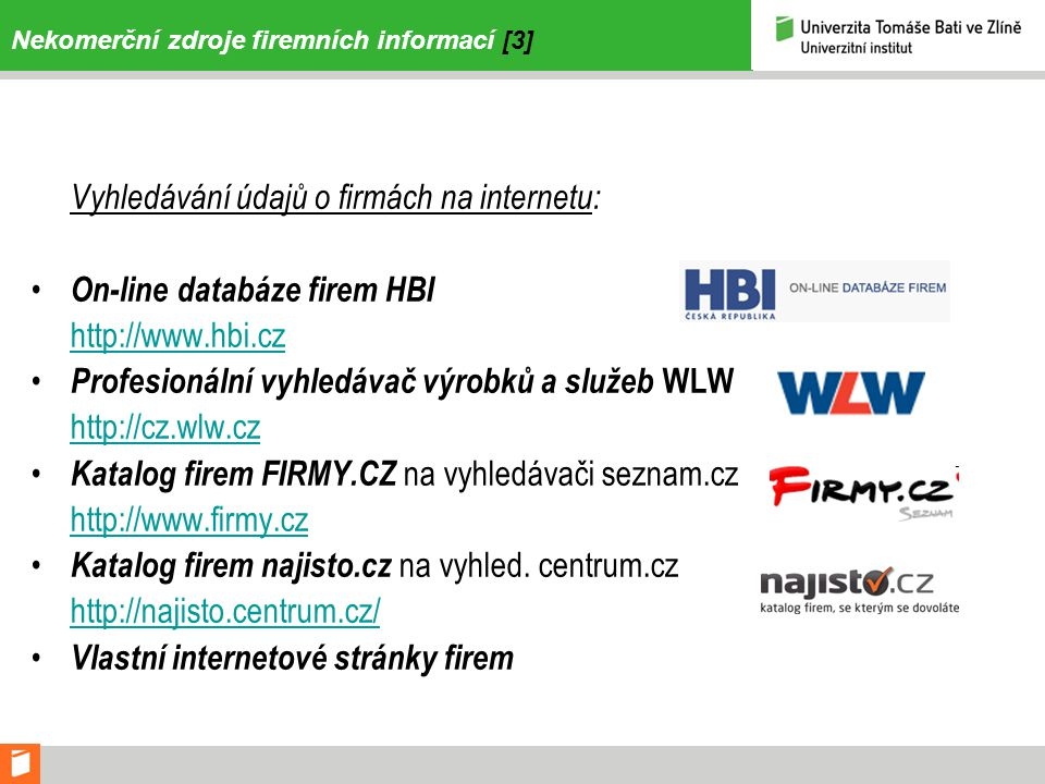 Nekomerční zdroje firemních informací [3]